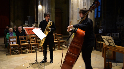 photo of saxophone and double bass duo